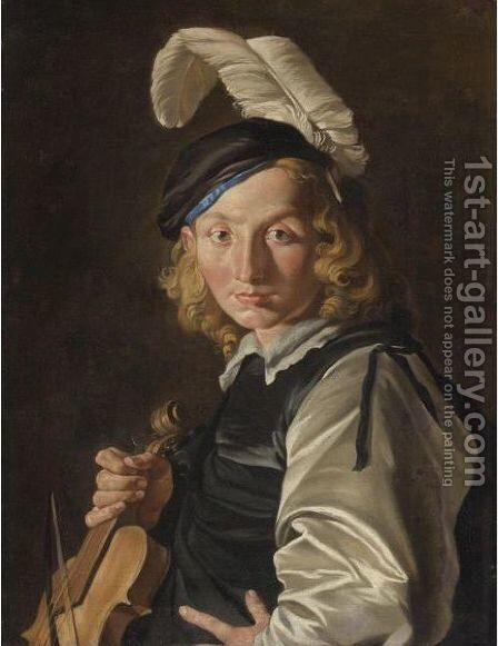 Young Man With A Fiddle by Matthias Stomer - Reproduction Oil Painting