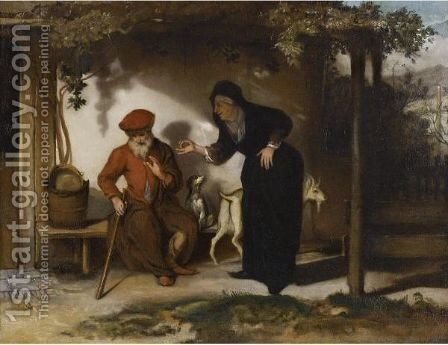 Tobit And His Wife Anna With A Goat by Barent Fabritius - Reproduction Oil Painting