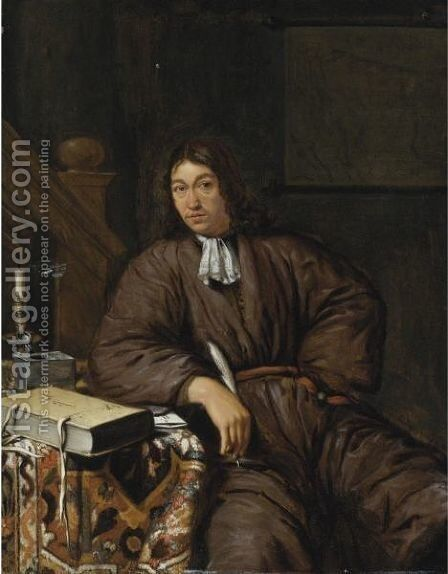 A Gentleman At His Desk by Michiel van Musscher - Reproduction Oil Painting
