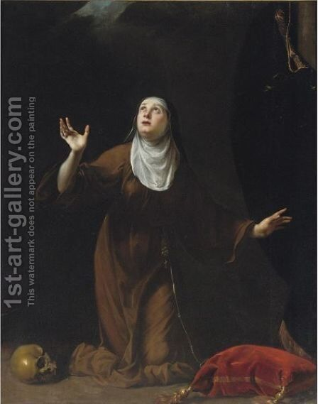 A Nun Saint by Simone Pignoni - Reproduction Oil Painting