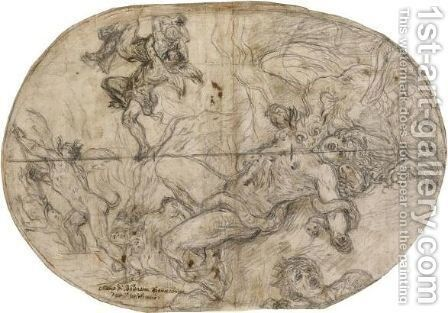Devils Dragging Damned Souls To Hell by Baldassarre Franceschini - Reproduction Oil Painting