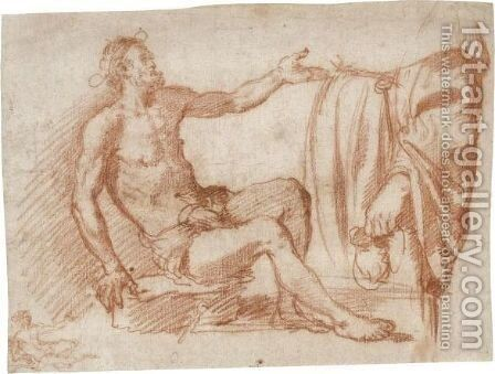Study Of A Seated Beggar And Of A Standing Figure Holding A Purse by Jacopo Confortini - Reproduction Oil Painting