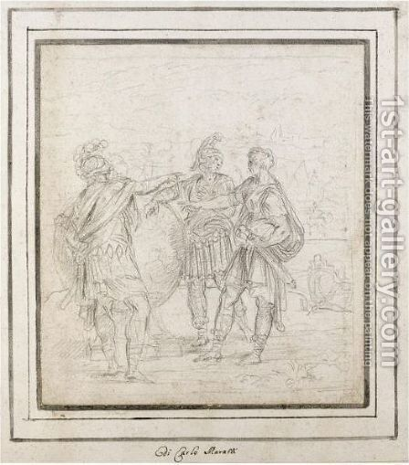 Scene From Roman History With Three Roman Soldiers Around A Globe by (after) Carlo Maratta Or Maratti - Reproduction Oil Painting