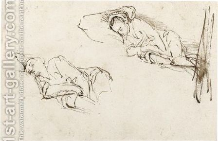 Two Studies Of A Woman Asleep On A Pillow by (after) Harmenszoon Van Rijn Rembrandt - Reproduction Oil Painting
