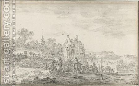 Landscape With Travellers Resting At The Edge Of A Village by Jan van Goyen - Reproduction Oil Painting