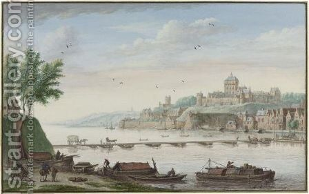 View Of Nijmegen, With Boatmen Loading Barges In The Foreground by Abraham Rademaker - Reproduction Oil Painting