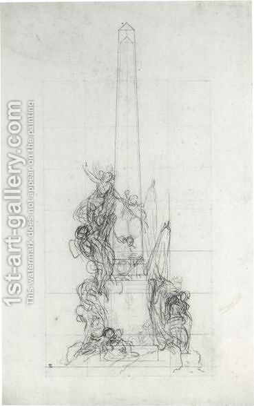 Designs For A Monumental Obelisk by Charles-Nicolas II Cochin - Reproduction Oil Painting