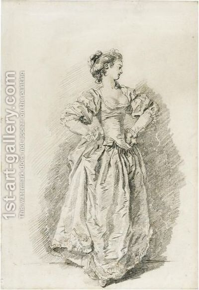 A Young Woman Standing With Her Hands On Her Hips by Jean-Honore Fragonard - Reproduction Oil Painting