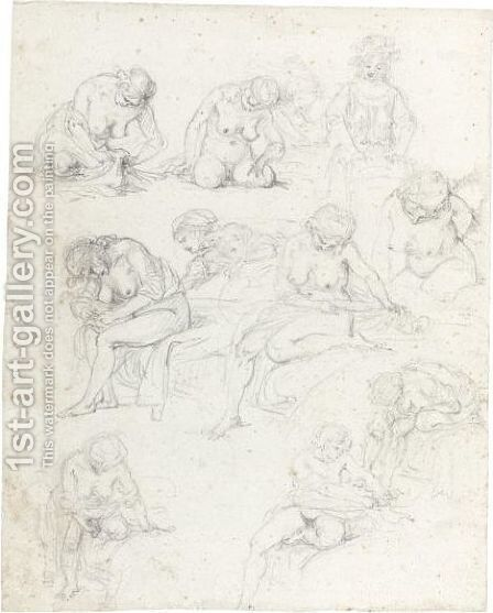 Sheet Of Studies Of Nude Young Women by Augustin de Saint-Aubin - Reproduction Oil Painting