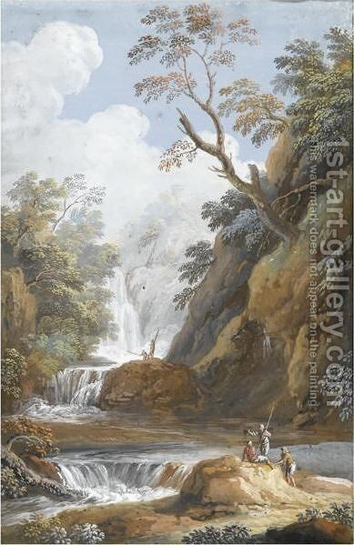 A Pair Of Mountainous River Landscapes, Both With Figures In The Foreground by Hendrik Frans Van Lint - Reproduction Oil Painting