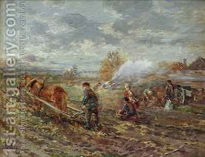 Winter Ploughing by Gregor Von Bochmann - Reproduction Oil Painting