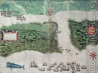 Map depicting the destruction of the Spanish colony of St. Augustine in Florida on 7th July 1586 by the English fleet commanded by Sir Francis Drake (1540-96) by Baptista Boazio - Reproduction Oil Painting