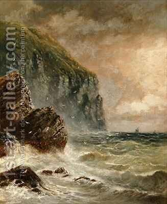 Seascape with Cliff by J. H. Blunt - Reproduction Oil Painting