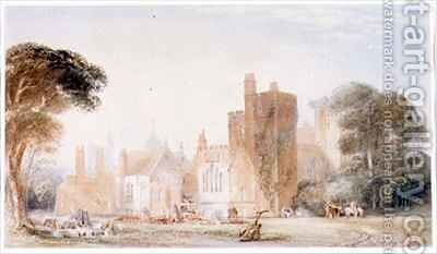 The Old North Front of Lambeth Palace during Demolition by Edward Blore - Reproduction Oil Painting