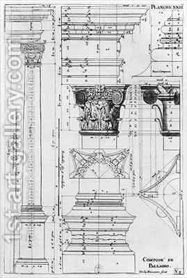 Section and elevation of a composite column designed by Andrea Palladio (1508-80) by Jacques-Francois Blondel - Reproduction Oil Painting