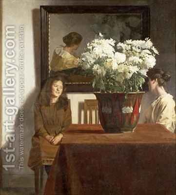 Figures with a Bowl of White Chrysanthemums by Gustav Wilhelm Blom - Reproduction Oil Painting