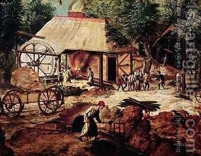 Landscape with Forge by Herri met de Bles - Reproduction Oil Painting