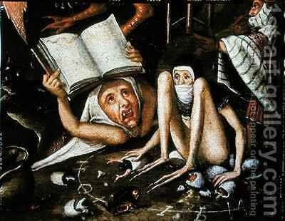 The Inferno, detail of a huddled and gagged creature next to a human monster holding up an open book by Herri met de Bles - Reproduction Oil Painting