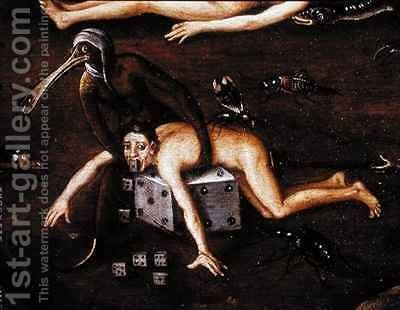 The Inferno, detail of a man lifted onto a dice by a creature with a bird's by Herri met de Bles - Reproduction Oil Painting