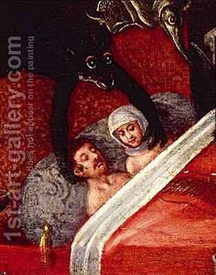 The Inferno, Couple in a bed surrounded by monstrous animals by Herri met de Bles - Reproduction Oil Painting