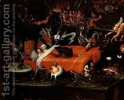 The Inferno, detail of a couple in bed surrounded by monstrous animals by Herri met de Bles - Reproduction Oil Painting