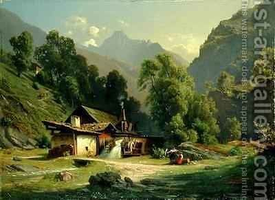 Blacksmith's House in a Valley by Theodor Blatterbauer - Reproduction Oil Painting