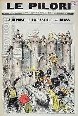 Cover of 'Le Pilori' depicting General Boulanger (1837-91) 'taking' the Bastille by J. Blass - Reproduction Oil Painting