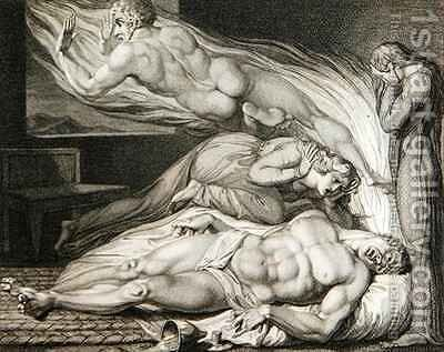 Death of the Strong Wicked Man by (after) William Blake - Reproduction Oil Painting