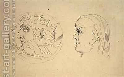 Obverse of the coin of Nebuchadnezzar and a head of Cancer by (after) William Blake - Reproduction Oil Painting