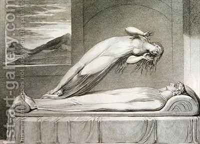 The soul hovering over the body reluctantly parting with life by (after) William Blake - Reproduction Oil Painting