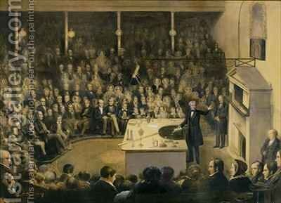 Michael Faraday (1791-1867) Lecturing in the Theatre at the Royal Institution by (after) Blaikley, Alexander - Reproduction Oil Painting