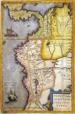 Map of the gold-bearing regions in Peru by Joan Blaeu - Reproduction Oil Painting
