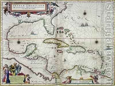 Caribbean and Central America, from the atlas Toonneel Des Aer Drycx by Joan Blaeu - Reproduction Oil Painting