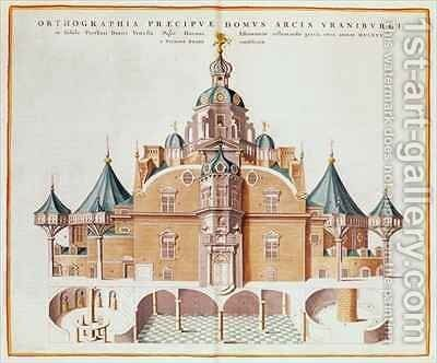 Tycho Brahe's observatory Uraniborg from Joan Blaeu's 'Atlas Major' 2 by Joan Blaeu - Reproduction Oil Painting