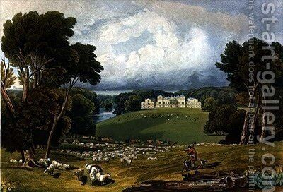 View of Holkham Hall, Norfolk by Elizabeth Blackwell - Reproduction Oil Painting