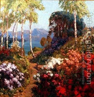 A Hillside Garden in Westmoreland by Arthur John Black - Reproduction Oil Painting