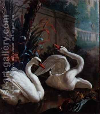 A Pair of Mute Swans in a Pond by Abraham Bisschop - Reproduction Oil Painting