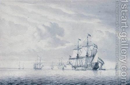 Dutch Shipping In Calm Seas by Dominic Serres - Reproduction Oil Painting