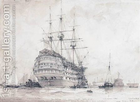 H.M.S. Prince - First-rate, Portsmouth Harbour, 10th June 1828 by Edward William Cooke - Reproduction Oil Painting