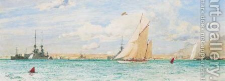 Racing Off Ryde, 1913 by Charles Edward Dixon - Reproduction Oil Painting