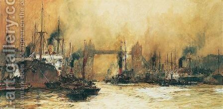 Tower Bridge From The Lower Pool, London by Charles Edward Dixon - Reproduction Oil Painting