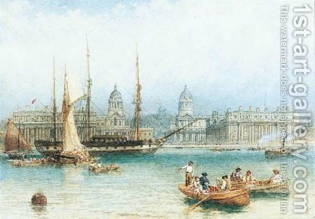 The Thames At Greenwich by Myles Birket Foster - Reproduction Oil Painting