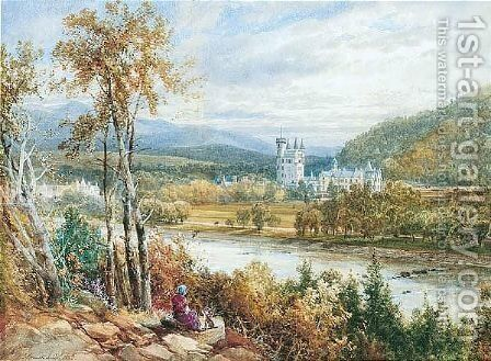 Balmoral Castle From Across The River Dee by James Burrell Smith - Reproduction Oil Painting