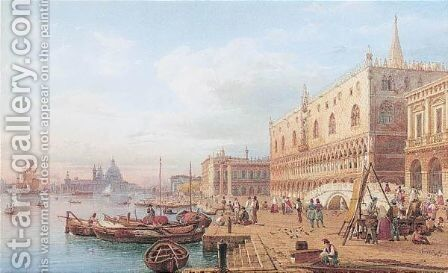 The Doge's Palace, Venice by Hermann David Salomon Corrodi - Reproduction Oil Painting