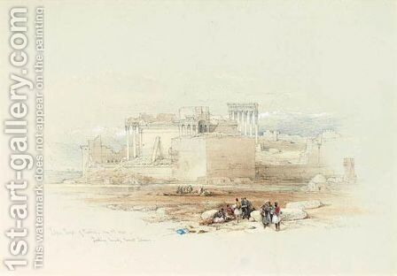 Lesser Temple Of Baalbec Looking Towards Mount Lebanon by David Roberts - Reproduction Oil Painting