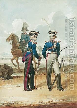 Prussian Army Officers - Dragoons Of The Guard by Denis Dighton - Reproduction Oil Painting