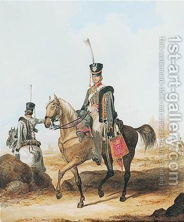 Hussars Of The Guard by Alexander Ivanowitch Sauerweid - Reproduction Oil Painting