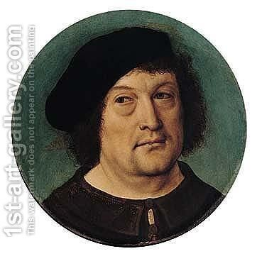Portrait Of A Gentleman, Head And Shoulders, Wearing A Beret by Master Of Frankfurt - Reproduction Oil Painting