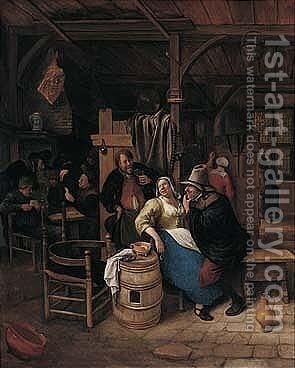 Figures Carousing In A Tavern Interior by Jan Steen - Reproduction Oil Painting