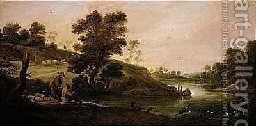 A River Landscape With Fishermen And Shepherds by David The Younger Teniers - Reproduction Oil Painting